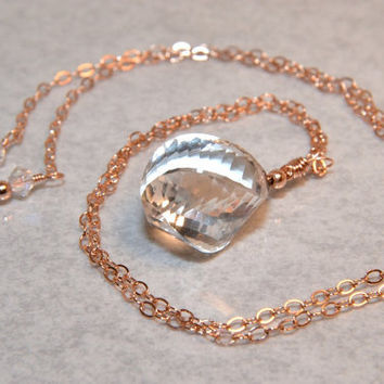 Rock Crystal Quartz Necklace, 14 Kt Rose Gold Filled Wire Wrapped Necklace, AAA Gemstone, Rose Gold Jewelry