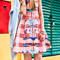 Red Plaid Butterfly Print Sleeveless Pleated Zipper Back Skater Dress