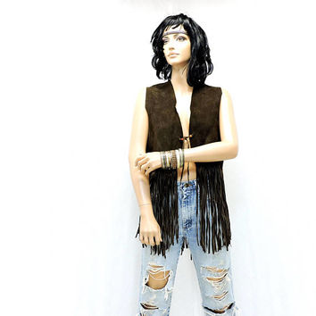 60s fringed leather vest / size M / L / handmade 1960s vintage leather vest / hippie / boho festival brown fringe vest
