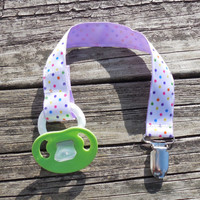 Dots  Pacifier Holder, Binky Clip, Pacifier Clip or Toy Clip, Lavender Ribbon