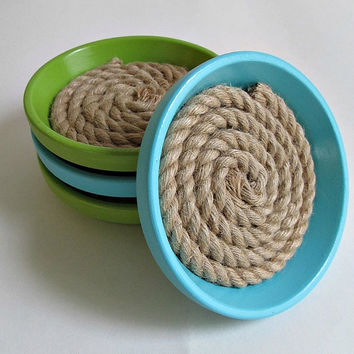 Lime and Teal Rope Drink Coasters - Beach, Nautical, Spring Summer Home Decor