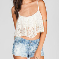 Full Tilt Womens Crochet Crop Top Ivory  In Sizes