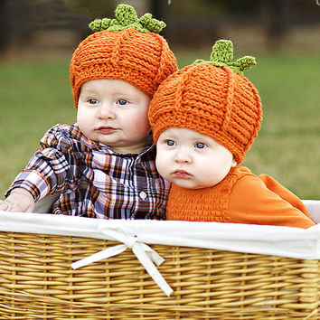 Funny Cartoon Pumpkin Shape Crochet Warm Boy Cap Girl Hat Baby Cap Baby Hat For Infant Newborn Photography Props Drop Shipping