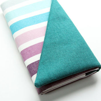 Clutch Wallet - Vegan Wallet, Smartphone Wallet, Ladies Wallet, Cute Wallet Clutch, Teal, Blue, and Purple Stripes
