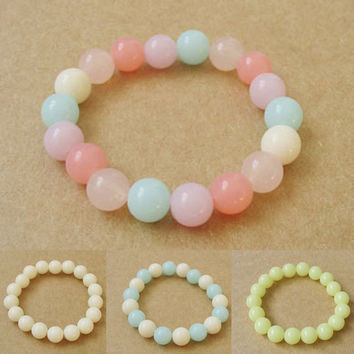 Korean Fashion Jewelry Womens Girls Sweet Cute Candy Color Jelly Beads Bracelet Free Shipping BL-0135