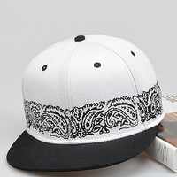 Black and White Print Snapback Cap