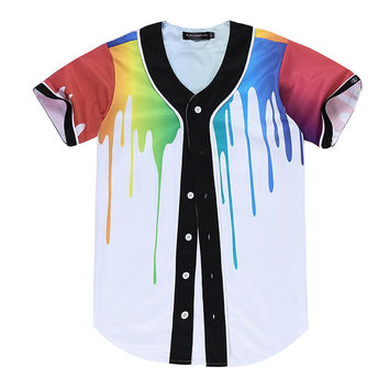 Fashion Brand casual Baseball jersey 3D Printed paint Shirts Men/Women Summer short sleeve white jacket