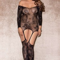 iCollection Lingerie Plus size The Moment Floral lace pattern cami bodystocking