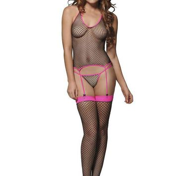 VONE5FW 3PC.Industrial Net cami garter g-string and stockings O/S BLACK/FUSCHIA