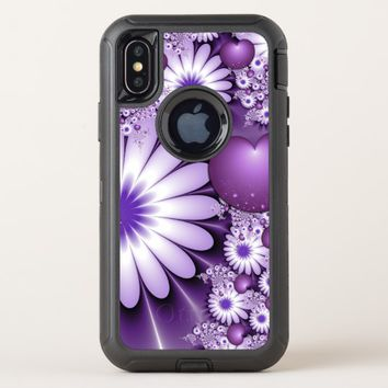 Falling in Love Abstract Flowers & Hearts Fractal OtterBox Defender iPhone X Case