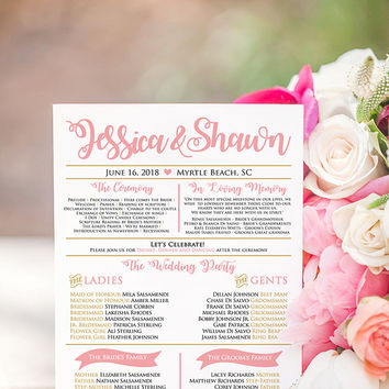 Wedding Ceremony Program Timeline Program Fan - Typography Program Card - Wedding Program Fan - Program Wedding Fan Wedding Timeline DEPOSIT
