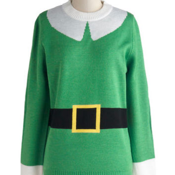 ModCloth Quirky Mid-length Long Sleeve Elf Respect Sweater