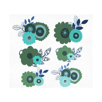 Digital Wedding Flower Clipart, Laurel Floral Clip Art, Wreath, Border, Design Element Scrapbook Embellishment Teal Blue Turquoise Green