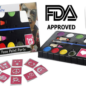 Avanchy Face Painting Kit +10 STENCILS. Watercolor Palette