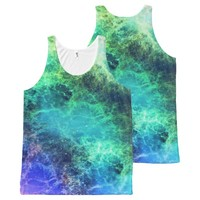 Nebula Green Blue Flames space All-Over-Print Tank Top