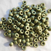 Fifty 6mm Czech Matte Metallic Olive Green glass pony roller beads, large hole crow beads, C9350