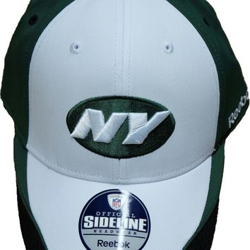 Reebok New York Jets Official Sideline Hat ~ Flex Fit ~ Green / White
