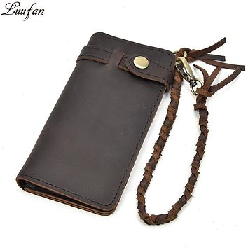 Vintage Hasp Open Genuine Cow Leather Men Wallet Large Capacity Crazy Horse Real Leather Men's Bifold Purse Clutch Wallet chain