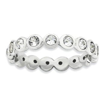 Sterling Silver Stackable Expressions  April Swarovski Ring
