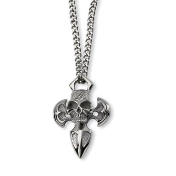 Men's Stainless Steel Cross with Skull Necklace