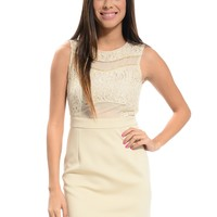 Beige Bahia Lace Trim Dress | $10 | Cheap Trendy Club and Party Dresses Chic Discount Fashion for W