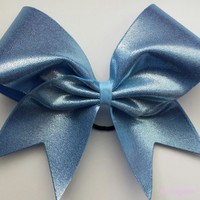 Mystique fabric cheer bow in carolina blue ( columbia blue, baby blue).