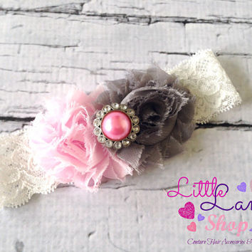 Newborn Girl Headband, Pink Grey Baby Headband, newborn baby girl headband photography props - vintage couture boutique
