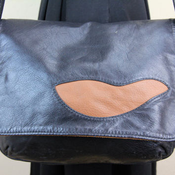 Black and Brown BARE SKIN BAGS Leather and Suede Messenger Shoulder Bag