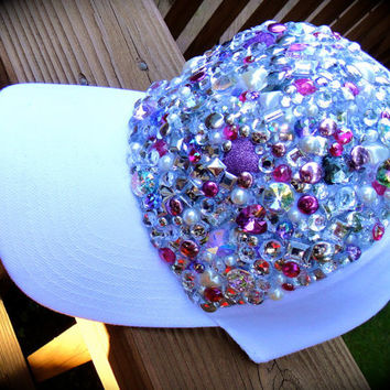 Hand embellished Diva Hat in white