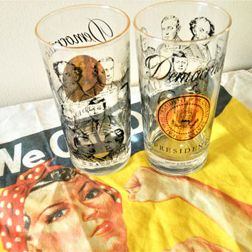 Vintage 1960's Democratic Presidents Glasses, Democrat Presidential Tumblers, Democrat President Highball, Vintage Barware