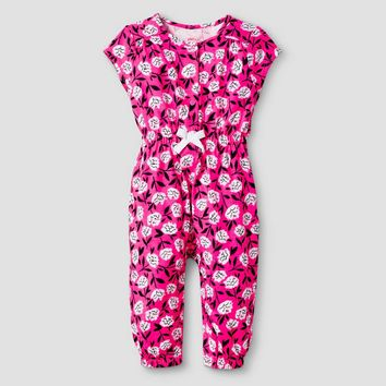 Baby Girls' Short-Sleeve Floral Romper Baby Cat & Jack™ - Pink/Purple