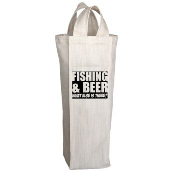 """""""Fishing & Beer: What Else Is There?"""", 2 Bottle Polyester Wine Tote Bags With 2 Self-Fabric Handles"""