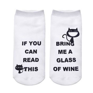 "2017 Funny White Ankle Socks/Women/""If You Can Read This, Bring Me A Glass Of Wine"" Kitty Cats"