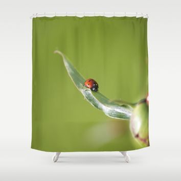 Ladybug on Flower Shower Curtain by Cinema4design | Society6