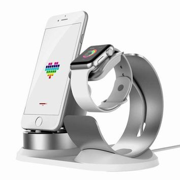 ICIK4S2 Apple Watch Stand Aluminum[4 in 1 Charger Stand]iWatch AirPods Accessories Apple Pencil Desktop Charging Dock Station Holder for iPhone X/8/8Plus/7s/7sPlus/6s/6sPlus/5s/iPod/iPadmini watch3/2/1-Silver