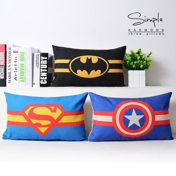 Superman Ironman Batman Captain America Cushion Covers Super Hero Linen Pillow Covers Bedroom Sofa Decoration
