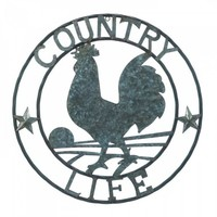 """Galvanized Rooster """"Country Life"""" Wall Decor"""
