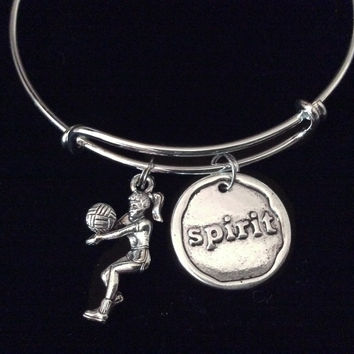 Volleyball Spirit Expandable Charm Bracelet Adjustable Silver Wire Bangle Sports Team Gift Trendy