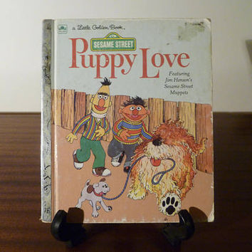 "Vintage 1983 Sesame Street's ""Puppy Love"" - A little Golden Book / Kids Book / Jim Henson's Muppets / Ernie and Bert"