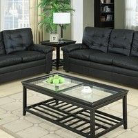 A.M.B. Furniture & Design :: Living room furniture :: Sofas and Sets :: Leather Sofa sets :: 2 pc Charlotte collection black bonded leather upholstered sofa and love seat with tufted back cushions