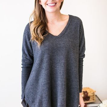 Singing Softly Waffle Knit Top- Charcoal