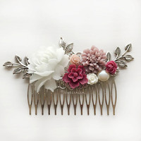 Wedding Hair Comb, Silver Leaves, Autumn Flowers Maroon Blush Pink, Burgundy Marsala Wine Red, Flower Bridal Hair Pin, Bridesmaid Gift