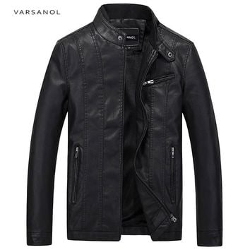Leather Jackets Men Long Sleeve Winter Thick Pocket Bomber Straight Outerwear Zipper