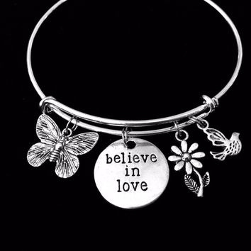 Believe in Love Butterfly Jewelry Adjustable Bracelet Expandable Silver Charm Bangle Daisy Bird Trendy One Size Fits All Wife Gift