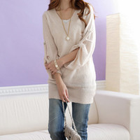 Charming & Fashionable V Collar Fold Sleeve Knitting Sweater---- Apricot