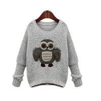 Womens casual long sleeve owl printed sweaters cardigan knit knitwear knitted blouse top