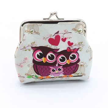 Women Coin Purses Lady Retro Vintage Owl Small Wallet Hasp Purse Women  Small Clutch Bag