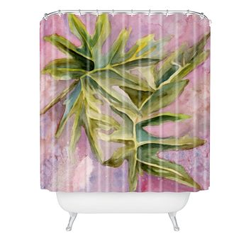Rosie Brown Tropical Foliage Shower Curtain