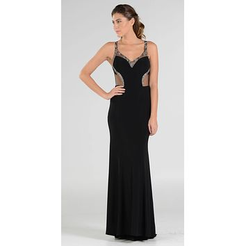 Poly USA 7692 V-Neck Long Formal Dress Sequins Open Back Cutouts Black