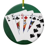 Poker Hands - Straight - Ace To Ten Ceramic Ornament
